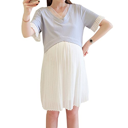 レディース マタニティ 半袖 細見せ 体型カバー 柔らか ロング 授乳口付き マタニティ マキシワンピース 授乳服 産前 産後 妊婦服 夏 ゆったり 楽ちん