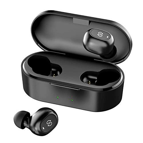 ワイヤレスイヤホン SoundPEATS(サウンドピーツ) Truefree+ Bluetooth イヤホン 35時間再生 Bluetooth 5.0 完全ワイヤレス イヤホン 自動ペアリング マイク内蔵 両耳通話 ブルートゥース ヘッドホン スポーツ イヤホン ワイヤードイヤホン [メーカー1年保証] ブラック