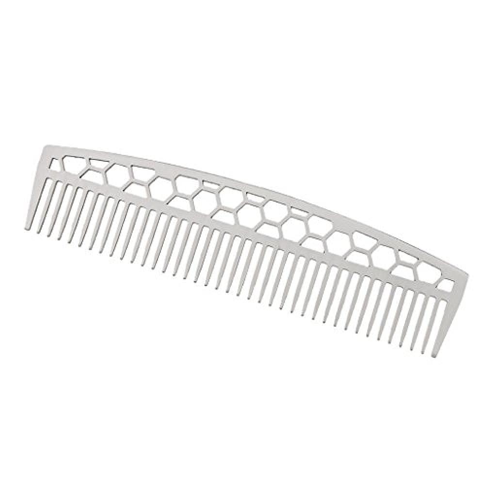 やめる区画露骨なPerfk ビアードコーム ステンレス鋼 ひげ櫛 ヘアブラシ ヘアスタイリング 2タイプ  - #1