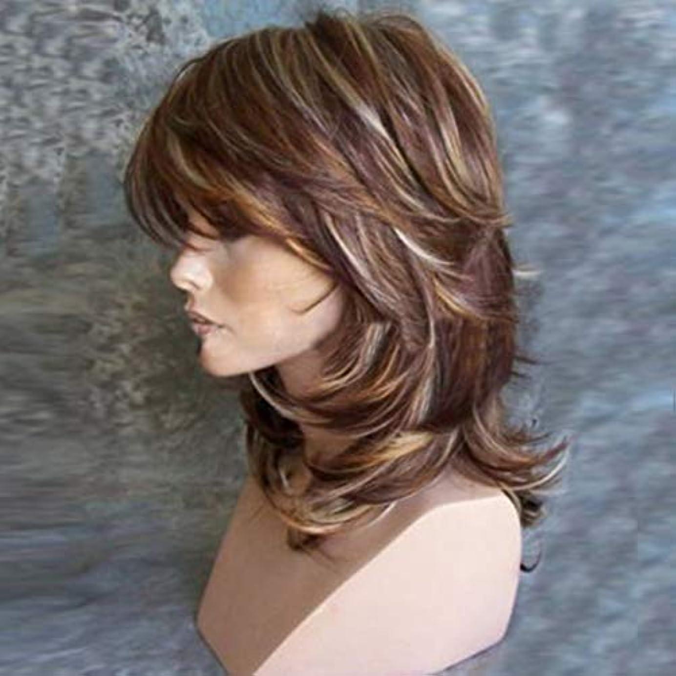 センター真似る挑むIntercorey女性のかつら髪の強い美しさの女性のかつら自然な合成ショートボディーウェーブブロンドのかつら