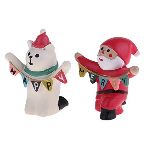 KESOTO 1/12ドールハウス装飾 サンタクロース 白いベア模型 ミニチュア フィギュア 置物