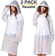 Rain Ponchos, 2 Packs Reusable Ponchos for Adults with Drawstring Hood and Sleeves, Emergency Rain Coat for Theme Park, Hikin