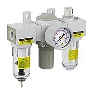 PneumaticPlus SAU2000M-N02G Mini Three-Unit Combo Compressed Air Filter Regulator Lubricator FRL, Air Preparation Unit 1/4 NPT - Poly Bowl, Manual Drain, Gauge by PneumaticPlus