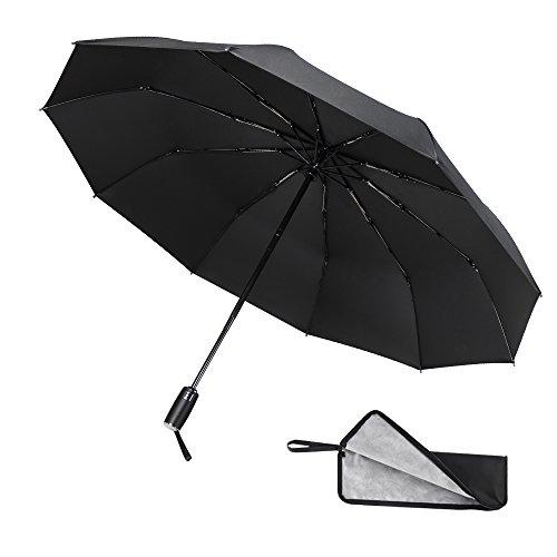 COOFINE 折りたたみ傘 自動開閉傘 防水収納ケース付き 10本骨 風に強い 軽量 超撥水性 UVカット 晴雨兼用 ワンタッチ コンパクト 梅雨対策 一年間品質保証 ブラック 紳士傘 レディース傘 ビジネス傘