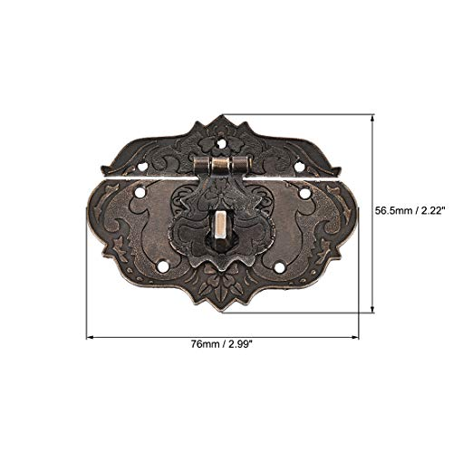 uxcell Wood Case Box Hasp 76x56.5mm Zinc Alloy Antique Latches with Screws, 2 Pcs