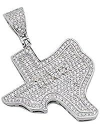 シルバートーンメンズIced OutキュービックジルコニアCZホワイトLone Star State of Texas Pendant with 24
