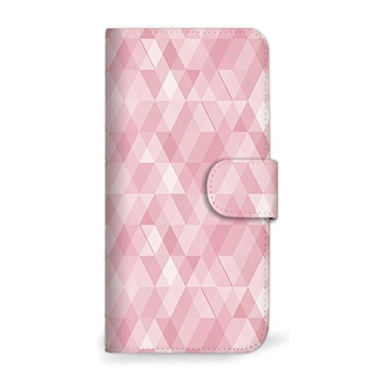 表面円周勝つmitas Galaxy S8 Plus SCV35 ケース 手帳型  幾何学柄 ピンク (342) SC-0056-PK/SCV35