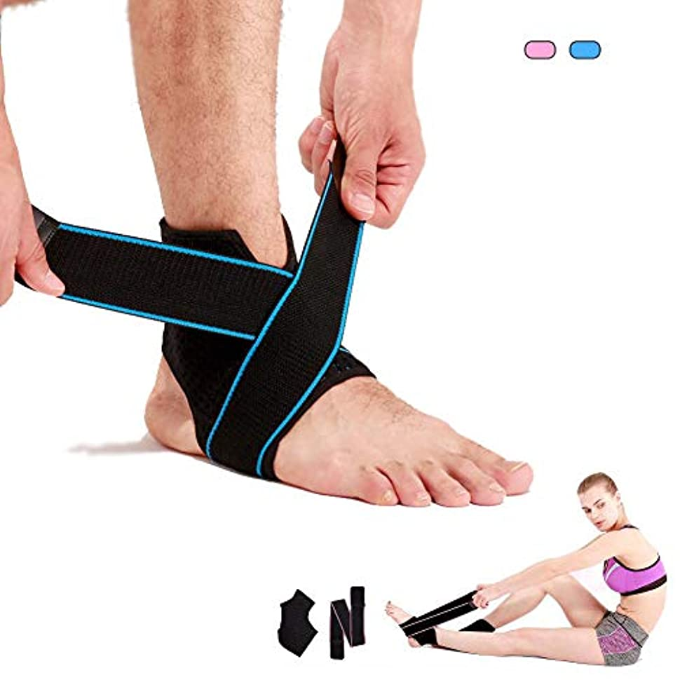 艶イライラするトライアスロン調整可能な足首サポート、スーパー通気性とスーパー弾性ナイロン、スポーツに最適、慢性足首捻挫、捻挫、ピンクレディース、メンズブルーを防ぐ