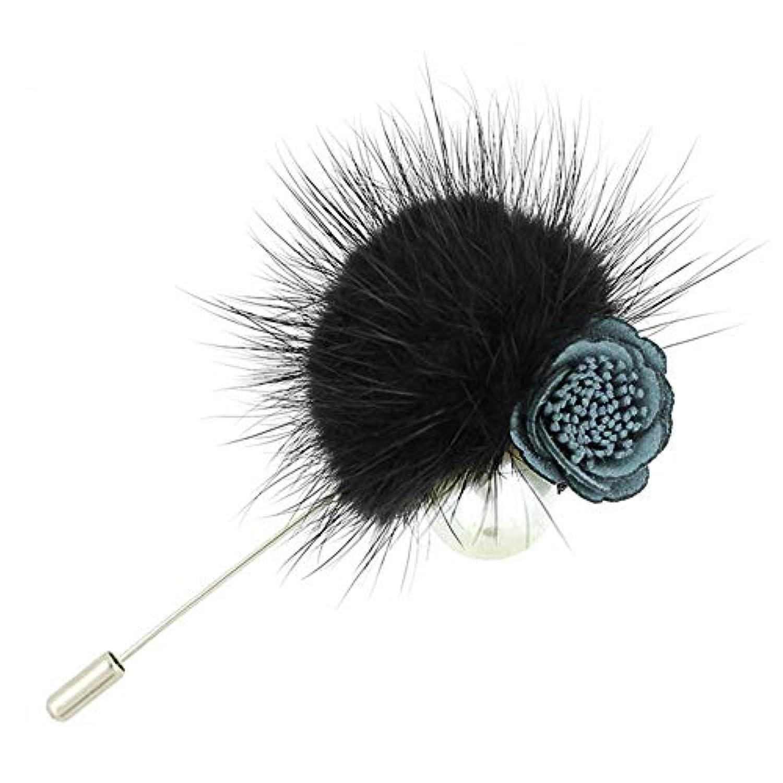 Vi.yo ブローチ ポンポン レディース メンズ 服アクセサリー ジュエリー シンプル 個性 贈り物 6*9CM ブラック