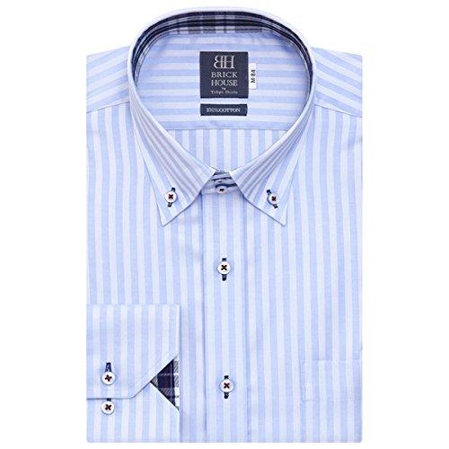 BRICK HOUSE 長袖 ワイシャツ 形態安定 ショート ドゥエボットーニ ボタンダウン 綿100% サックス×ストライプ織柄 BXLV24538A-10 ブルー L-86