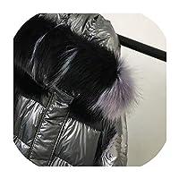 高品質2019新しい冬ジャケット女性暖かい厚くフード付きフード付きロングコート輝く生地スタイリッシュな女性パーカー、グレーカラフルな襟、XXL