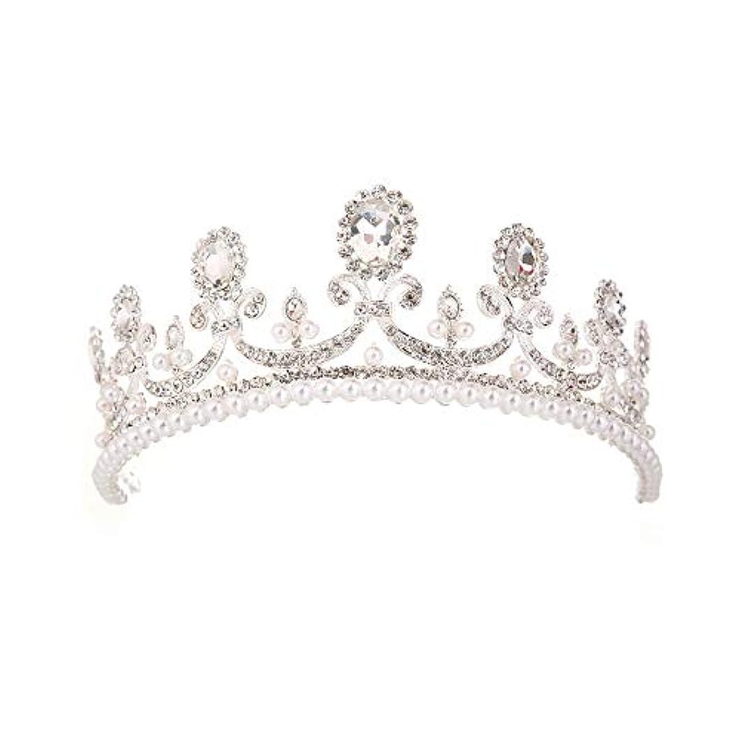 コテージ腸作曲するクラウンティアラ 結婚式のダンスのために適した女性のための結婚式の王冠の水晶ティアラブライダルかぶとのページェントの髪の宝石類 クラウンティアラゴールド (Color : White)