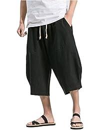 夏服 メンズ サルエルパンツ メンズ ズボン 袴パンツ ワイドパンツ サルエル ファッション 棉麻 七分丈 無地 調整紐 ゆったり 大きいサイズ 夏 ゆったり