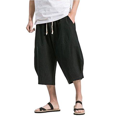 夏服?メンズ サルエルパンツ メンズ ズボン 袴パンツ ワイドパンツ サルエル ファッション  棉麻 七分丈 無地 調整紐 ゆったり 大きいサイズ 夏 ゆったり