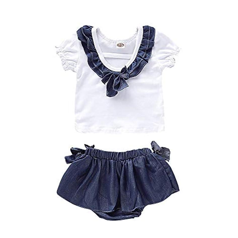 アコード海上ピンクRad子供 ファッション夏女の赤ちゃんカジュアルフレアスリーブレースデザインTシャツトップス+デニムショートパンツスーツコスチュームセット