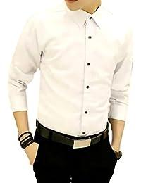 91a02dd676831 ナガポ) NAGAPO メンズ シャツ 長袖 カジュアル ワイシャツ 大きいサイズ 無地 ビジネス スリム