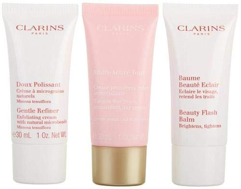 クラランス Multi-Active 30+ Anti-Ageing Skincare Set: Gentle Refiner 30ml + Multi-Active Day Cream 30ml + Beauty Flash...