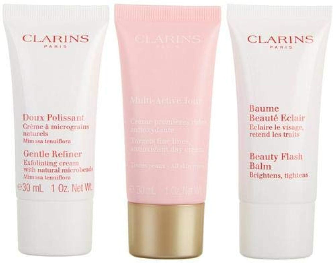 手順母性疲労クラランス Multi-Active 30+ Anti-Ageing Skincare Set: Gentle Refiner 30ml + Multi-Active Day Cream 30ml + Beauty Flash Balm 30ml 3pcs並行輸入品
