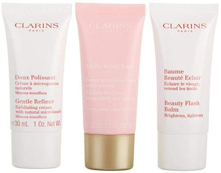 土無実うぬぼれたクラランス Multi-Active 30+ Anti-Ageing Skincare Set: Gentle Refiner 30ml + Multi-Active Day Cream 30ml + Beauty Flash Balm 30ml 3pcs並行輸入品