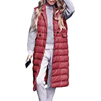 Womens Puffer Down Vest Zippered Padded Lapel Collar Thickened Outwear