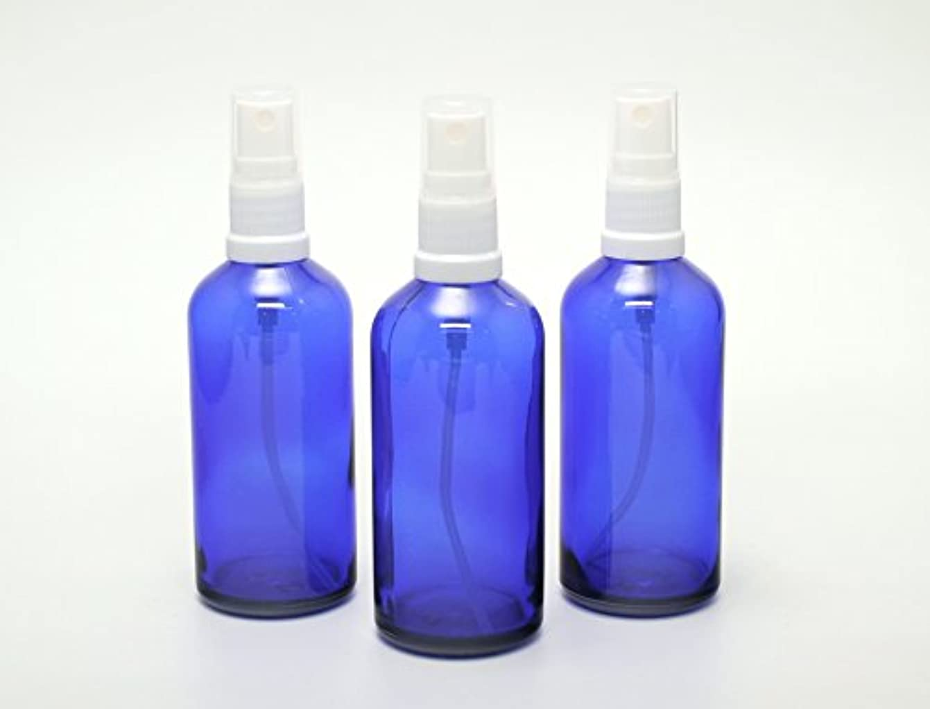 不均一熱望するフラスコ遮光瓶 スプレーボトル (グラス/アトマイザー) 100ml / ブルー? ホワイトヘッド 3本セット 【新品アウトレット商品 】