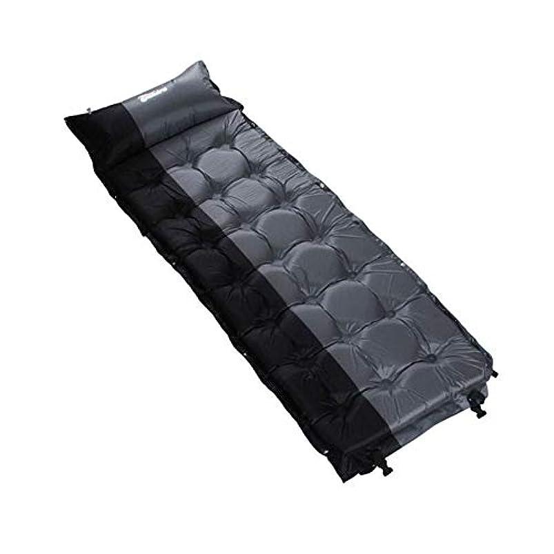 パット額ジャンプするクイックインフレーション屋外 軽量の自己膨脹式屋外の便利なキャンプパッドのテントのエアマットレスの寝袋のバックパッキングのキャンプのための枕カバー バックパッキングに最適 (色 : Black ash, サイズ : 186*65*5CM)