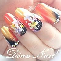 DINAネイル 和風花柄赤金 スキニースクエアL(15469番)ネイルチップ