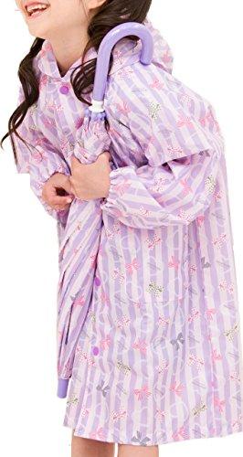 (アリサナ) arisana レインコート キッズ 女の子 ランドセル対応 雨具 カッパ リボン柄 (レインコート+収納ポーチの2点セット) ピンクxラベンダ- 140cm
