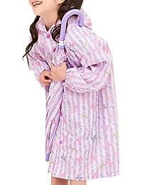 [アリサナ]arisana カッパ キッズ レインコート ランドセル対応 雨具 子供 リボン柄 (レインコート+収納ポーチの2点セット)