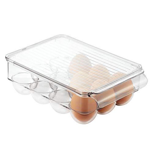 InterDesign 冷蔵庫用 卵入れ エッグ 収納 ホルダー 12個用 蓋付き Fridge Binz クリア 73030EJ