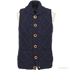 Kanata Cable Button Cowichan Vest 39974: Navy