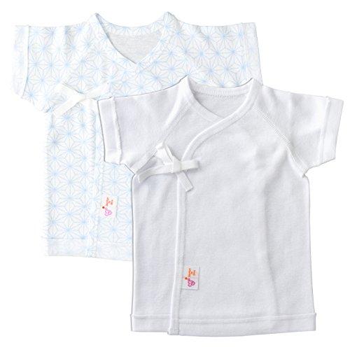 赤ちゃんの城 低出生体重児 短肌着 2枚セット 麻の葉 日本製 サックス