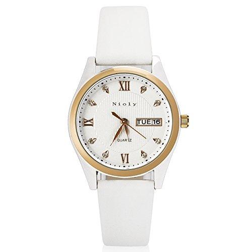 Nioly 腕時計 レディース スタンダード アナログ ビジネス ウォッチ ピンクゴールド 日付 曜日表示【化粧箱、保証書付き】 (白)