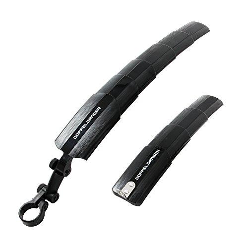 DOPPELGANGER(ドッペルギャンガー) テレスコピックマッドガードセット 伸縮スライド式 コンパクト収納 前後泥よけセット 14インチ~27インチまで DMS338-BK