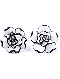 Niome Elegant Fashion Cute Women Lady Girls Black White Rose Flower Stud Earrings