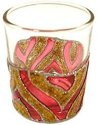 アジアン キャンドルホルダー カップ グラス 花柄 ゴールドレッド アジアン雑貨