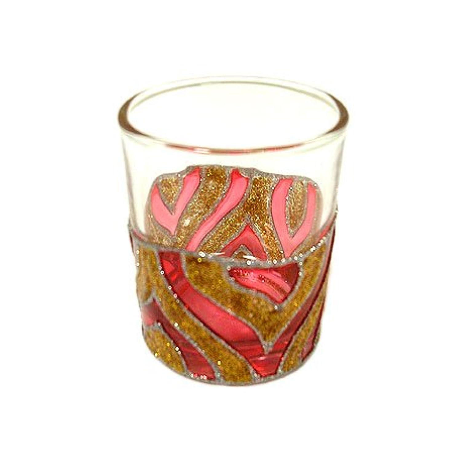 ぺディカブ異なる症候群アジアン キャンドルホルダー カップ グラス 花柄 ゴールドレッド アジアン雑貨