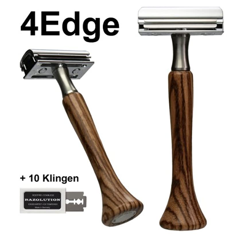 しつけ余分な溢れんばかりのRAZOLUTION 4Edge Safety razor, Zebrano handle