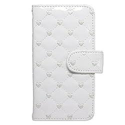 ハートの刺繍 エナメル素材手帳型 ホワイト wn-0380404-wy