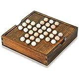 lifepower ペグソリティア 木製ボードパズル 一人遊び 木のおもちゃ 知育 教育玩具 クラシックパズル ボードゲーム 知育玩具 暇つぶし 大人も子供も 発想力 思考判断力 木製オンリーワンゲーム ソリティア