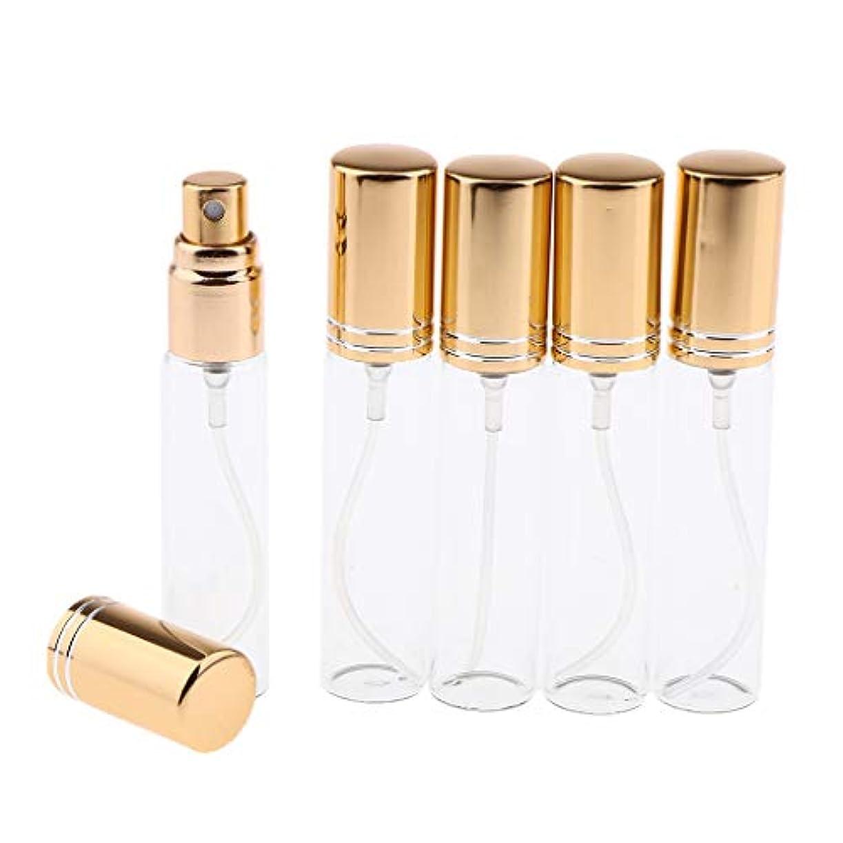 委任ウガンダ風変わりなgazechimp 5個入 香水瓶 スプレーボトル サンプルボトル 空 ガラス瓶 6色選択 - ゴールド