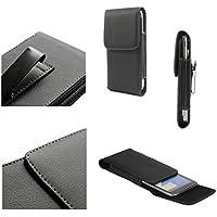 DFV mobile - Leather Flip Belt Clip Metal Case Holster Vertical for => MLAIS MX BASE > Black