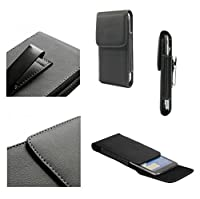 DFV mobile - Leather Flip Belt Clip Metal Case Holster Vertical for => YEZZ ANDY 5E LTE > Black