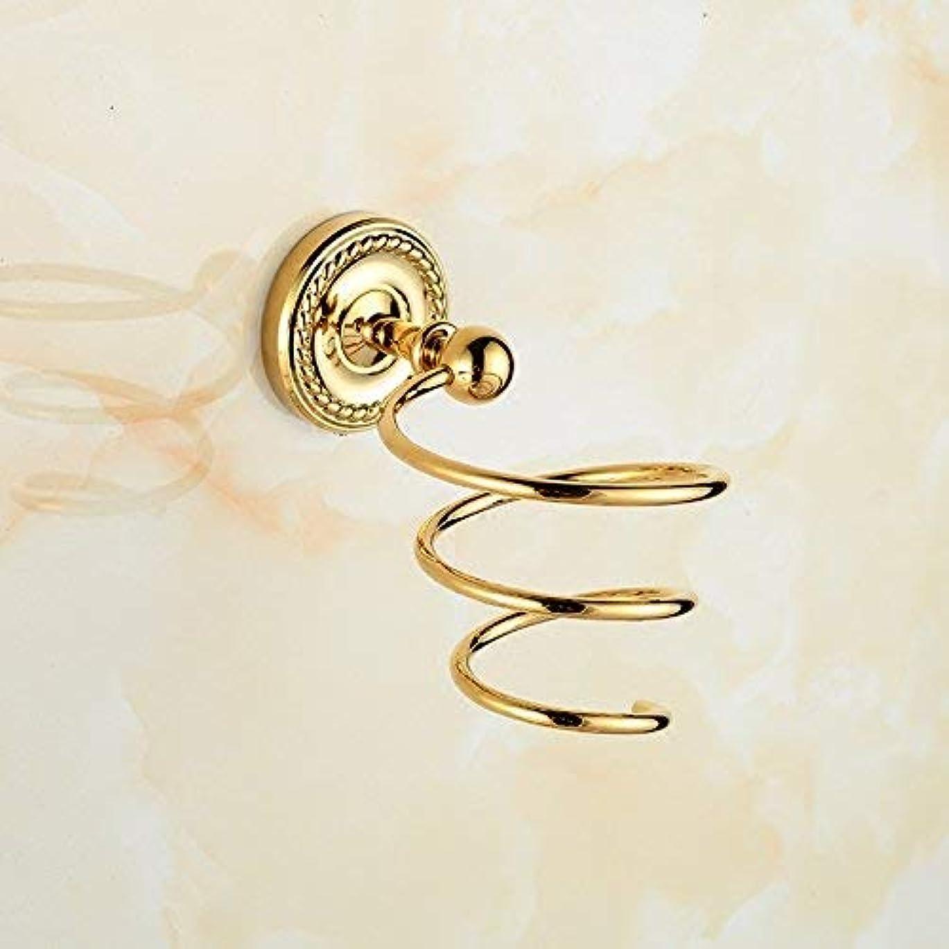 典型的な足枷ボクシング洗練されたゴールデン銅ヨーロッパアンティーク彫刻が施されたヘアラック壁掛け浴室ハードウェアアクセサリー収納ヘアドライヤー棚 ステンレス多機能ラック