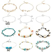Finrezio 12Pcs Anklets for Women Girls Ankle Bracelets Chains Silver Gold Plated Blue Adjustable Beach Anklet Foot Jewelry Set