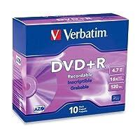 Verbatim DVD + Rメディア16x 4.7GB 10-pkブランドスリムケース95097