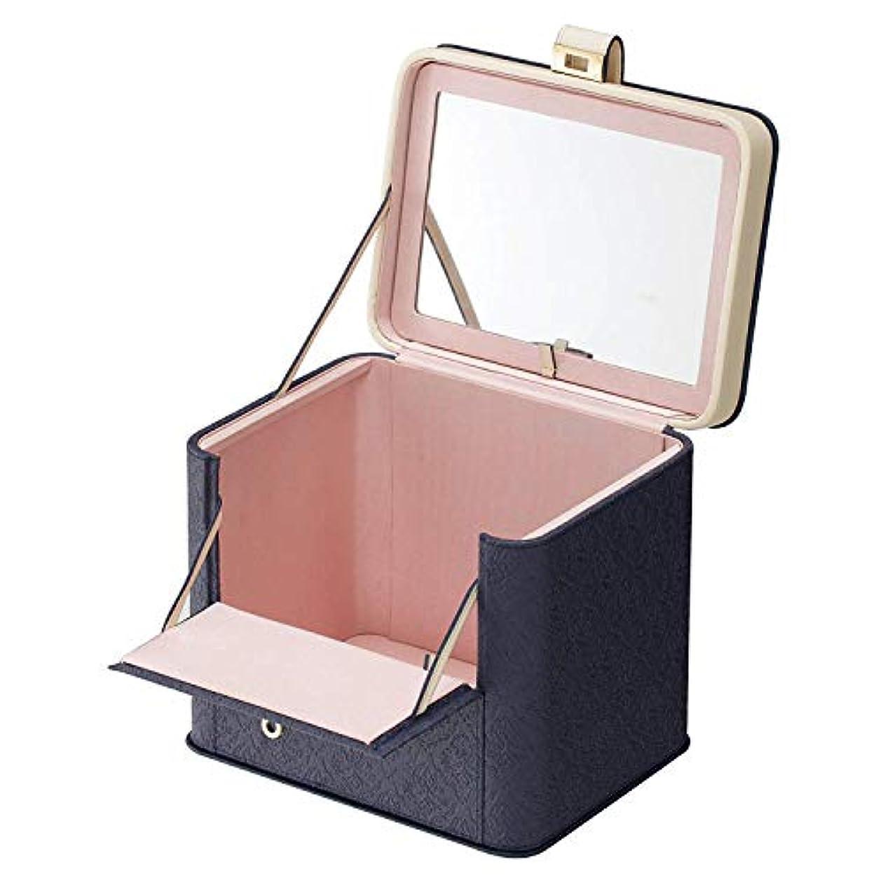 便宜しみ城カスタマイズでき メイクボックス アラベスク レギュ 化粧箱 ラー ロイヤルネイビー