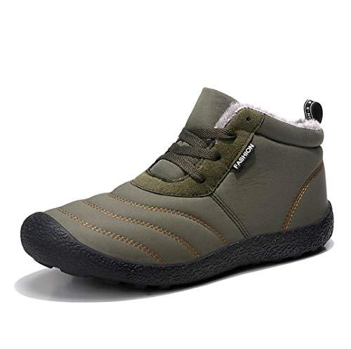 [zb08] スノーブーツ メンズ レディース 防水 防寒靴 スノーシューズ 防滑 アウトドアシューズ ウィンターブーツ 綿雪靴 滑り止め 保暖 裏起毛 冬用 カジュアル 綿靴 (42, 深绿色·2)