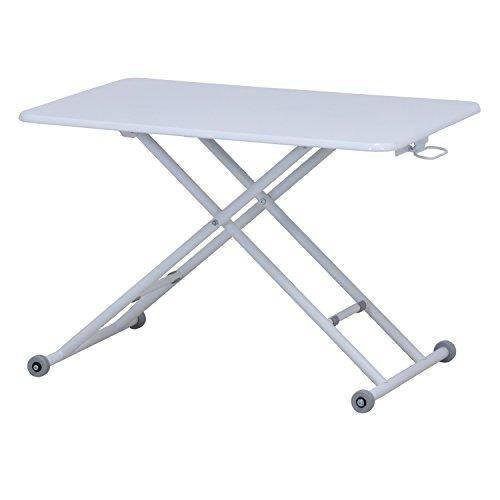 不二貿易 ガス昇降式テーブル 幅90×奥行60×高さ11.5~70cm ホワイト 74709