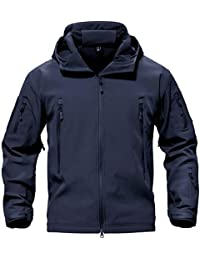 TACVASEN タクティカル ジャケット ソフト シェル アウトドア 保温 迷彩服 裏起毛 上着 多機能 登山 フード付 防水